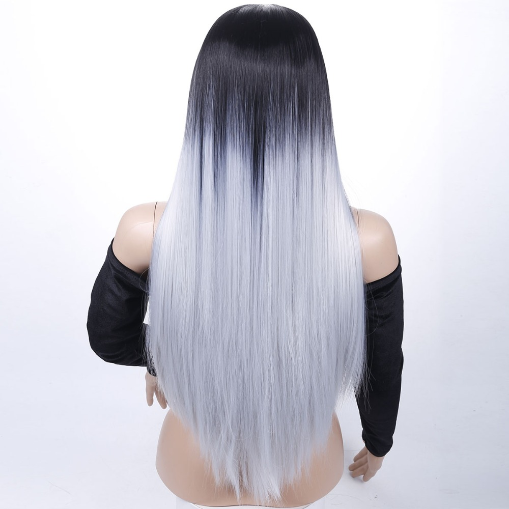 Long Straight Ombre Gray Heat Resistant Synthetic Two Tone Wigs For Women 28 inch AOSIWIG
