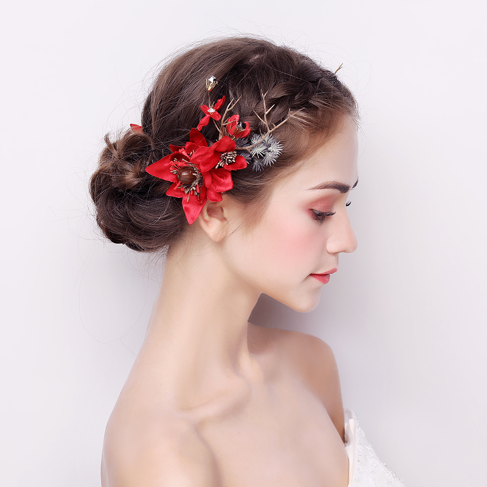 df6351b1f0 Red Flower Barrettes Bohemian Floral Handmade Hair Clips Headpiece  Ornaments Women Christmas Costume Headdress Hairgrips Gifts-in Hair Jewelry  from Jewelry ...