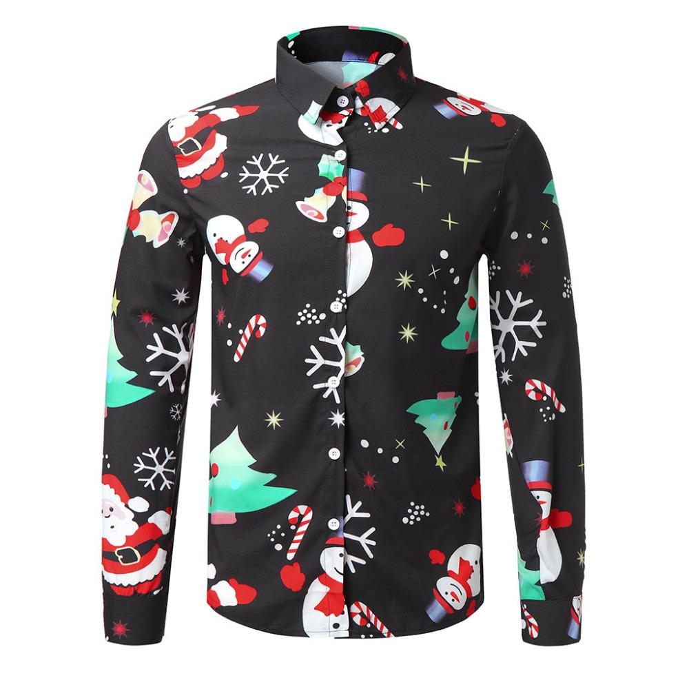 Men's Shirts Christmas Shirt Mens Polyester Tops Men Casual Snowflakes Santa Candy Printed Christmas Shirt Top Blouse #30