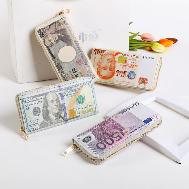 Women Dollar Euro Cartoon Wallet Long Creative Female Card Holder
