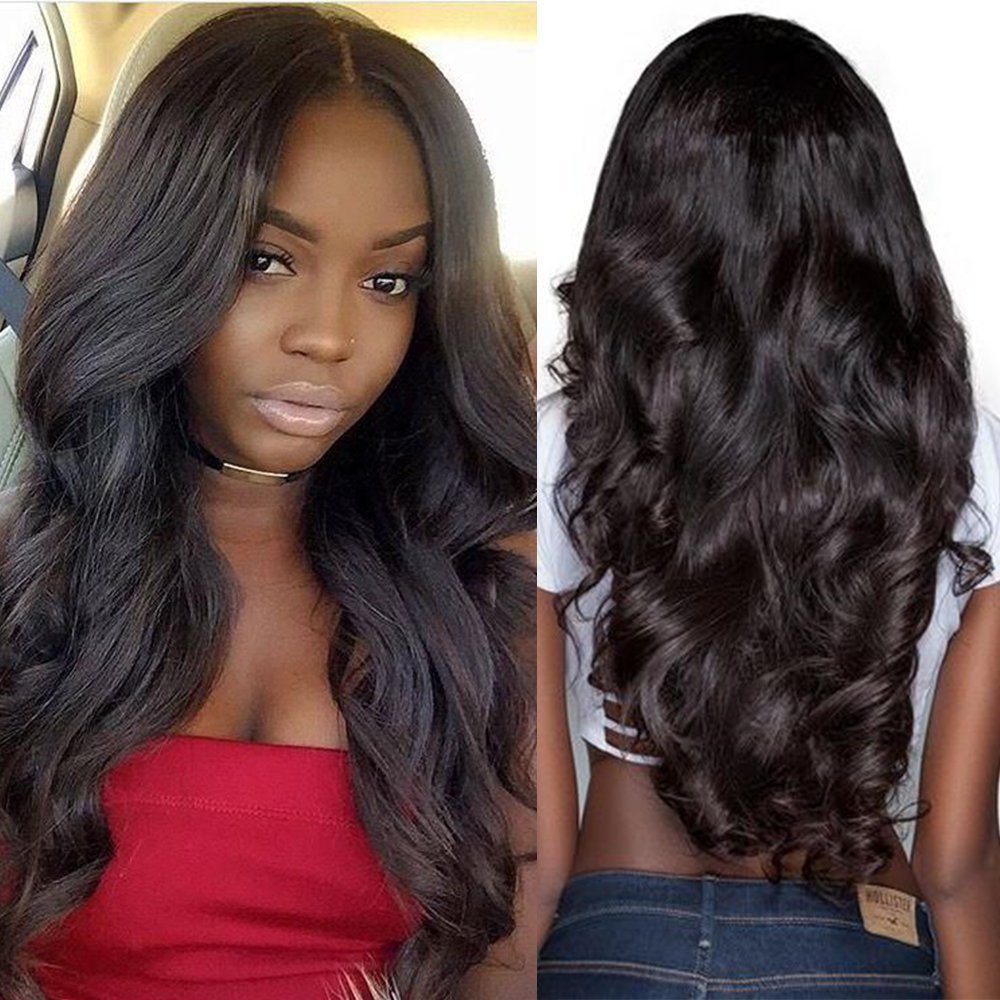 UEENLY Human-Hair Frontal-Wigs Mongolian 8--24-lace-Front Body-Wave Black Women for