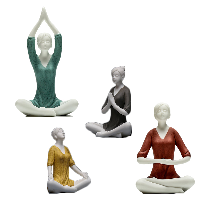 Simple and Modern Character Home Decor Study Yoga Hall Decoration Ceramic crafts Bogu Frame Teahouse Ornament Beautiful Gift