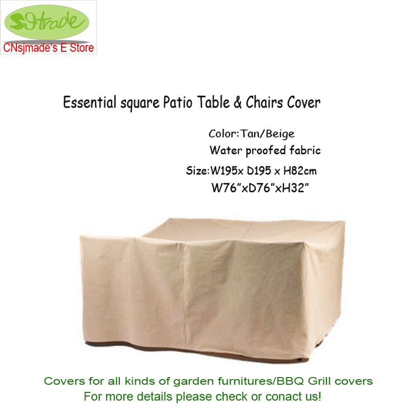 Essential square patio table&chaircover195x195x82cm , Beige color, Beige waterproofed fa ...