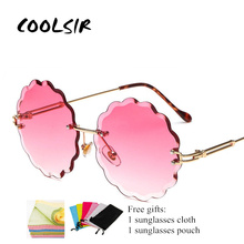 COOLSIR New Fashion Round Rimless Flower Sunglasses Women Men Vintage Stylish Metal Frame Sun Glasses Unique Decoration Eyewears
