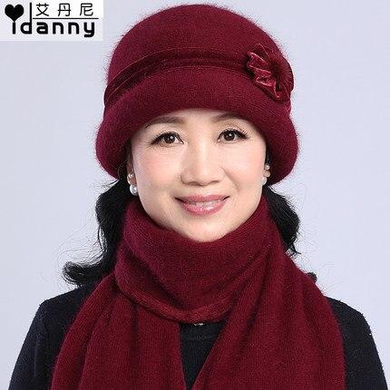 Autunno e inverno donne anziane cappello di pelliccia del coniglio lavorato  a maglia berretti ispessimento protezione della sciarpa set in Autunno e  inverno ... 2e710c7010b9
