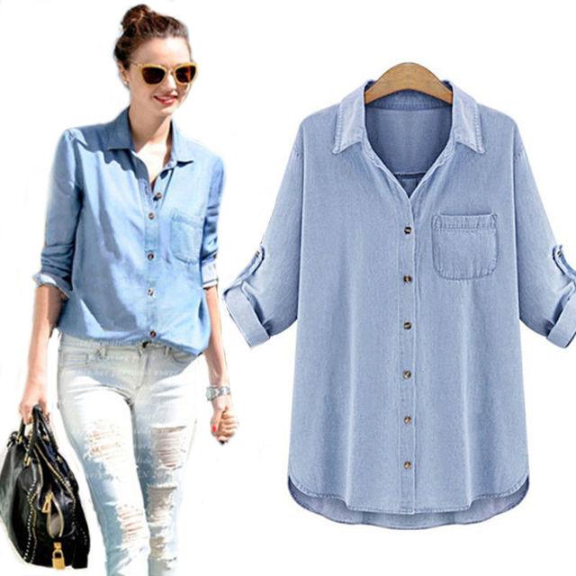 Autumn 2016 New Fashion Women Denim Blouse Vintage Casual Turn-down Collar Loose Thin Cotton Denim Shirt Plus Size 5XL