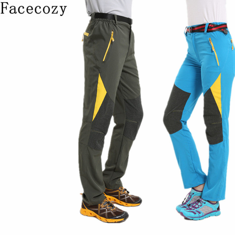 Facecozy Women Men Summer Fast Dry Fishing Pants Outdoor Patchwork Hunting Camping Trouser Couples Spring Sport