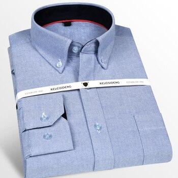 Oxford algodón Premium estándar-fit Casual Botón-abajo camisetas pecho bolsillo manga larga cómoda camisa de vestir suave