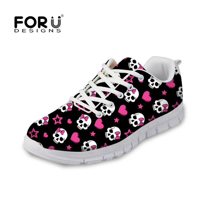 FORUDESIGNS Cute 3D Skull Pattern Print Flats Shoes for Women Lace-up Casual Shoes Zapatillas Deportivas Breathable Comfortable