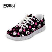 Forudesigns/3D череп с принтом обувь на плоской подошве для Для женщин Кружево на шнуровке Повседневная обувь Zapatillas Deportivas воздухопроницаемая комфортная обувь