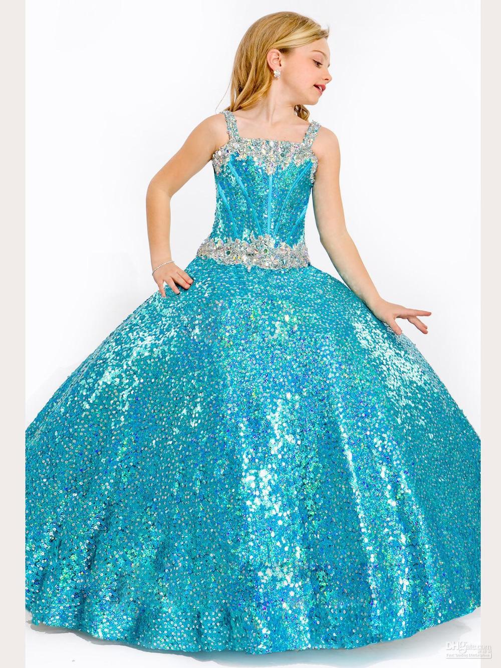 Hot Sale Gold Sequins Ball Gown Flower Girl Dresses 2016 Custom ...
