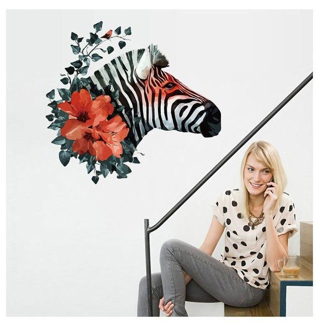 Captivating Awoo Wandaufkleber Zebra Und Blumen Schlafzimmer Wohnzimmer Vinyl Kunst Dekorative  Aufkleber Wandaufkleber Dekorative Aufkleber