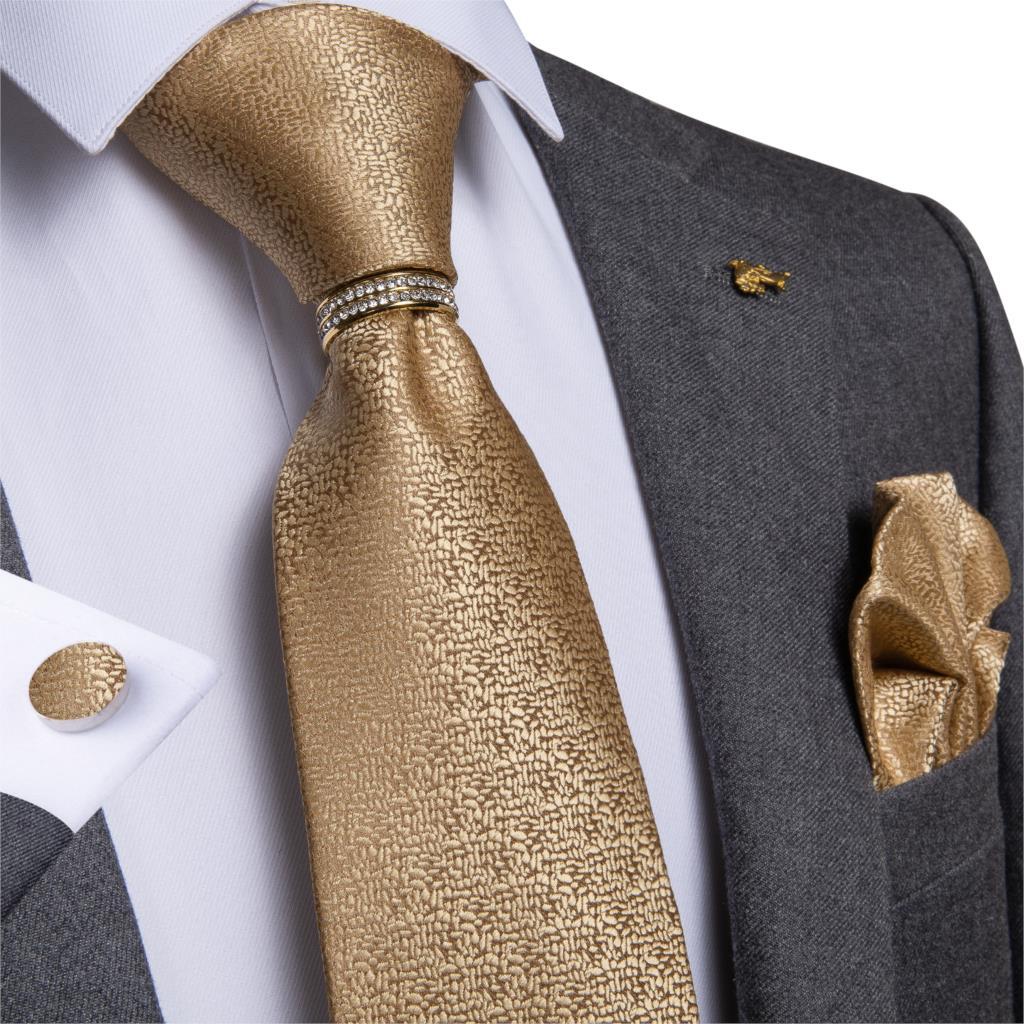 New Designer Mens Necktie Yellow Solid  Wedding Tie For Men Necktie Ring Silk Tie Set Hanky Cufflink DiBanGu Business JZ-03-532