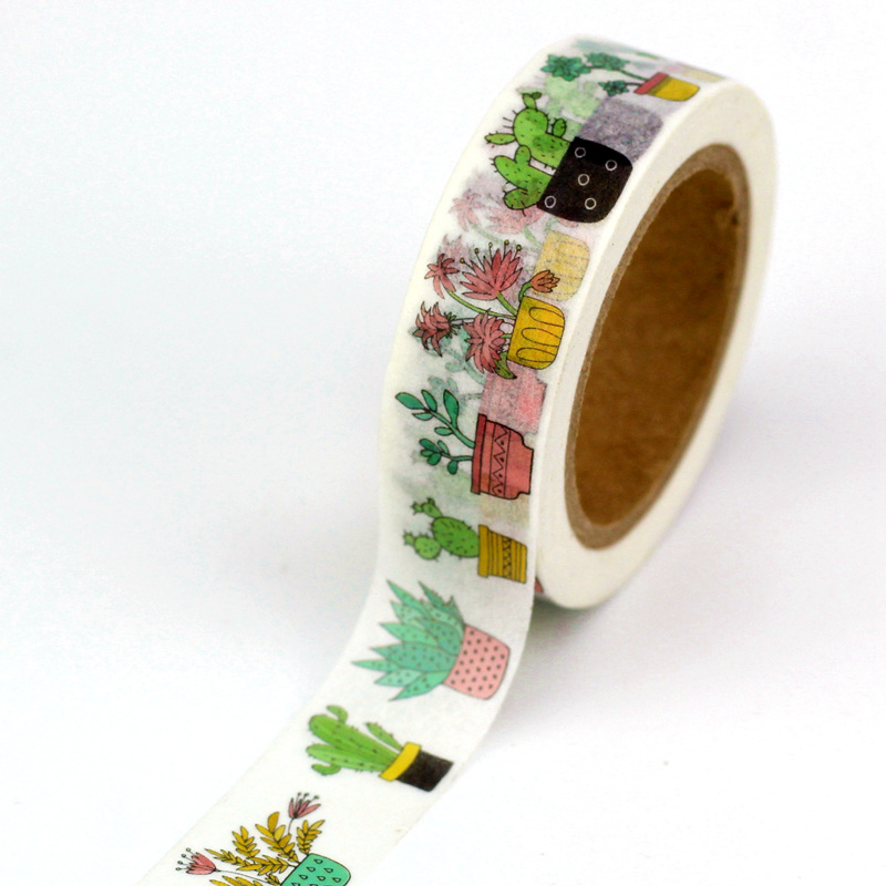 1.5cmx10m Decor Cute Succulent Cactus Potted Plants Washi Tape Paper Set DIY Scrapbook Planner Adhesive Masking Tape Stationery