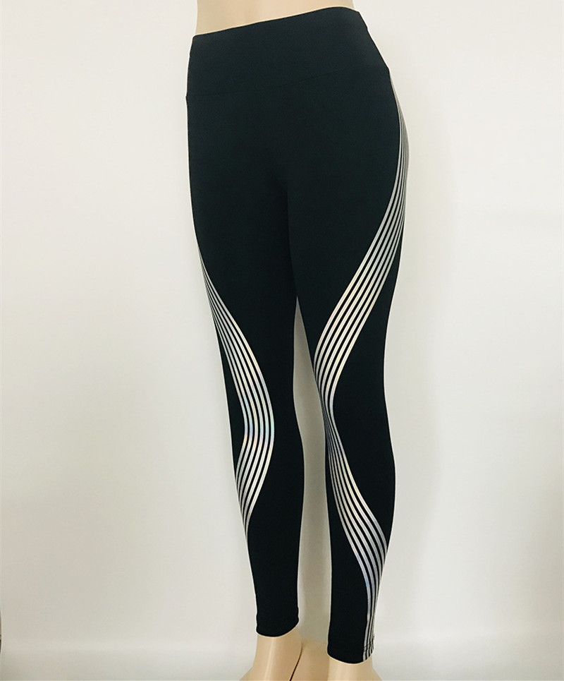 2018 Reflective Leggings Glow in the Dark Night Light Stripes Laser Fitness Yoga Pants Tights Sportswear Tracksuit Women Female