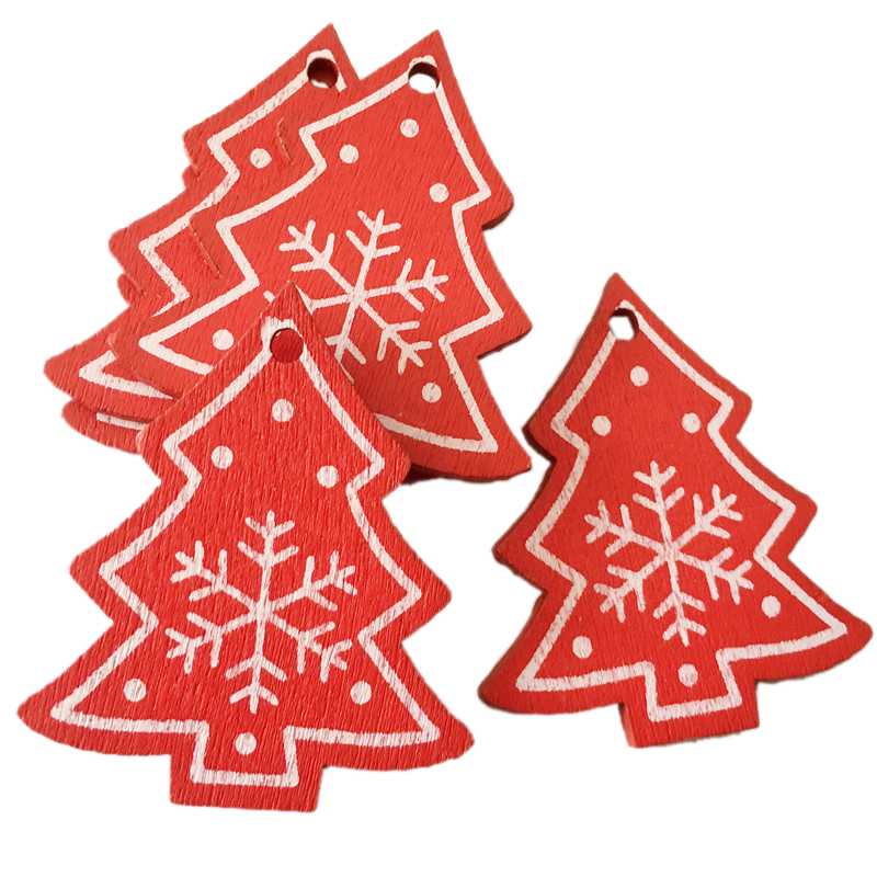 New Year 2020 Christmas Snowflake Wooden Pendant Xmas Tree Decorations for Home Wood Hanging Crafts Navidad 2019 Noel Natal Deco 26