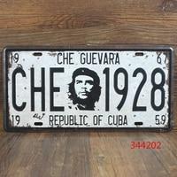 FREE SHIPPING COST - TOP HOME OFFICE ROCK COOL -Vintage iron Antique CAR plate BAR Ernesto Guevara decor Auto Logos ART