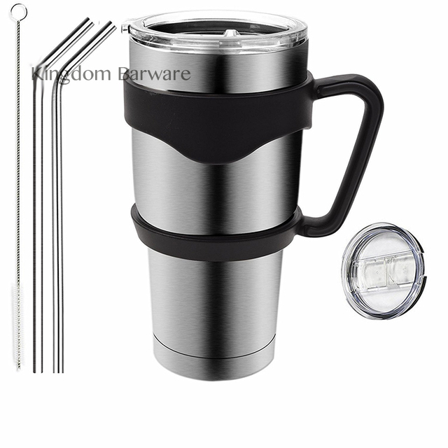 30 oz Insulated Tumbler Travel Mug, Double Wall Vacuum Insulated Thermal Stainless Steel Cup Bundle with Handle, 1 Lids, 2 Straw