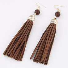 Fashion Fringe Earrings Ladies Imitation Leather Brown Velveteen Cord Tassel Gold Plated 120x12mm 1Pair Long Dangle Drop Earring