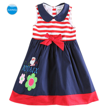 JUXINSU Toddler Cotton Summer Girl Flowers Embroidered Striped Bow Sleeveless Dresses for Baby Girls Clothes 1-5 Years