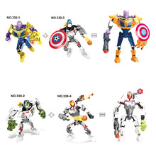 Marvel Avengers 4 Hulk Iron Man Thanos Captain America Compatible Super Hero Models Building Blocks Toys