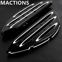 Black Deep Edge CNC Driver Floorboards For Harley Touring Softail Street Road Glide Fat Boy Heritage FLHT Dyna FLSTF FLSTS FLHX