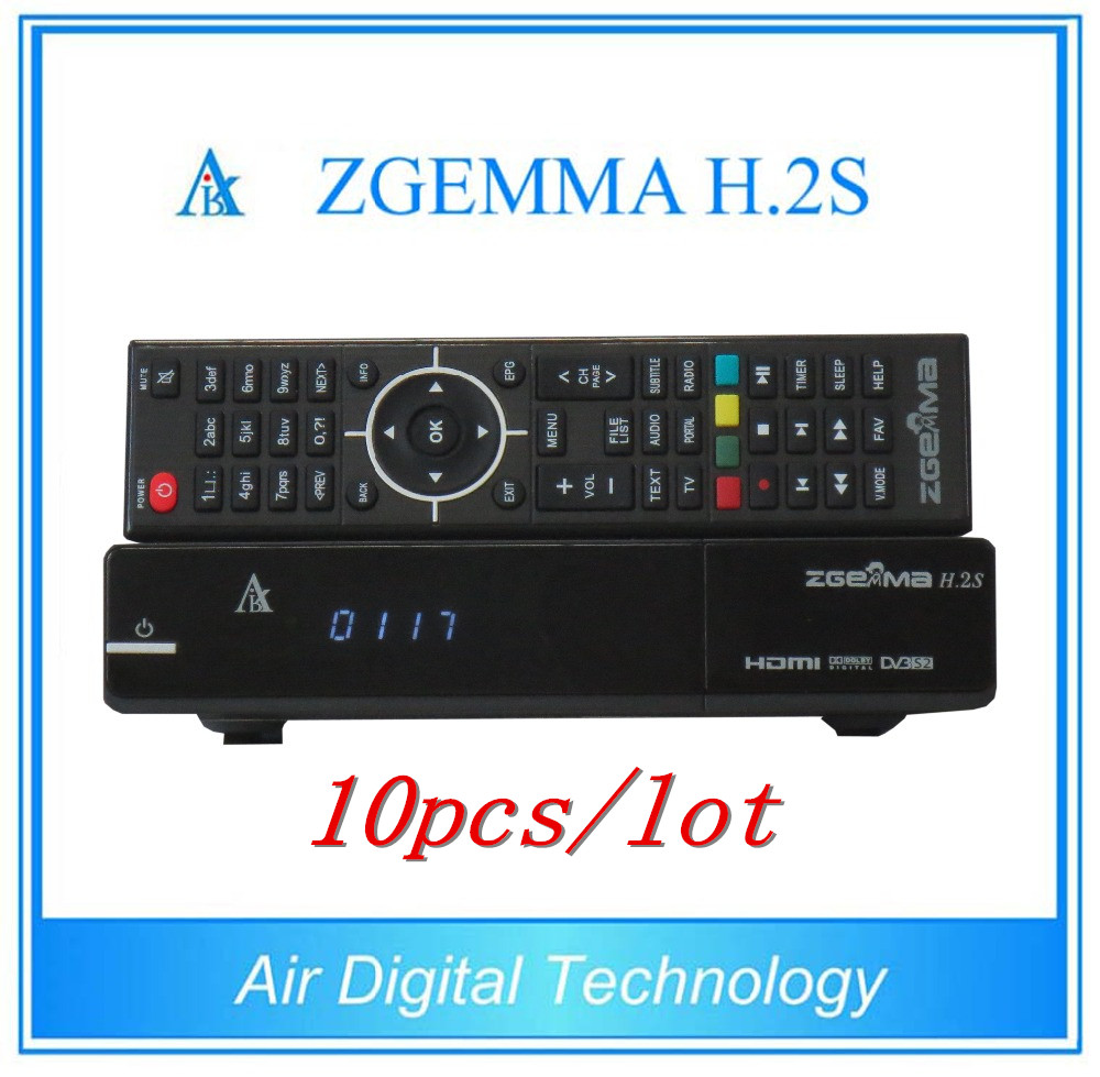 10pcs/lot  High CPU Running Satellite Receiver Zgemma H.2S With Linux OS Enigma2 DVB-S2+S2 Twin Tuners IPTV Box 10pcs zgemma star i55 support satip iptv box bcm7362 dual core mainchipset 2000 dmips cpu linux enigma 2 hdmi connection