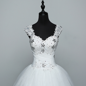 Image 2 - Real Photo Wedding Dress 2020 Hot Sale Applicue Simple Lace Cheap Wedding Gown With Beading Vestido De Noiva Imported china