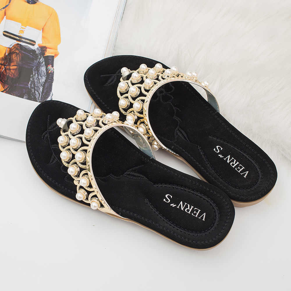 2018 Fashion Sandals Woman Black Blue Brown Three Colors Available Exquisite Pearl Metal Decoration Women's Sandals Casual