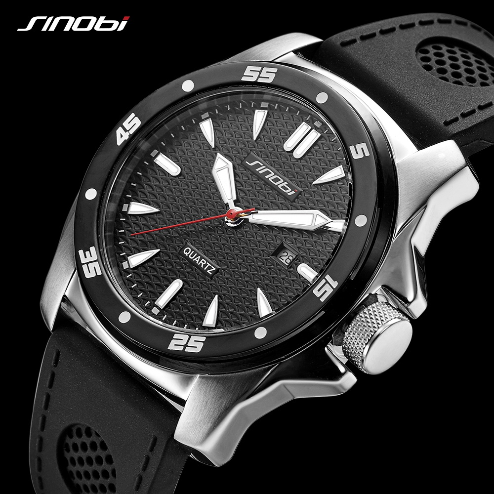 2018 SINOBI Sport 3ATM Waterproof Men Watch Top Brand Luxury Calendar relogio masculino Man Silicone Quartz Military Watch Saat sinobi men watch s shock military watch for man eagle claw leather strap sport quartz watches top brand luxury relogio masculino