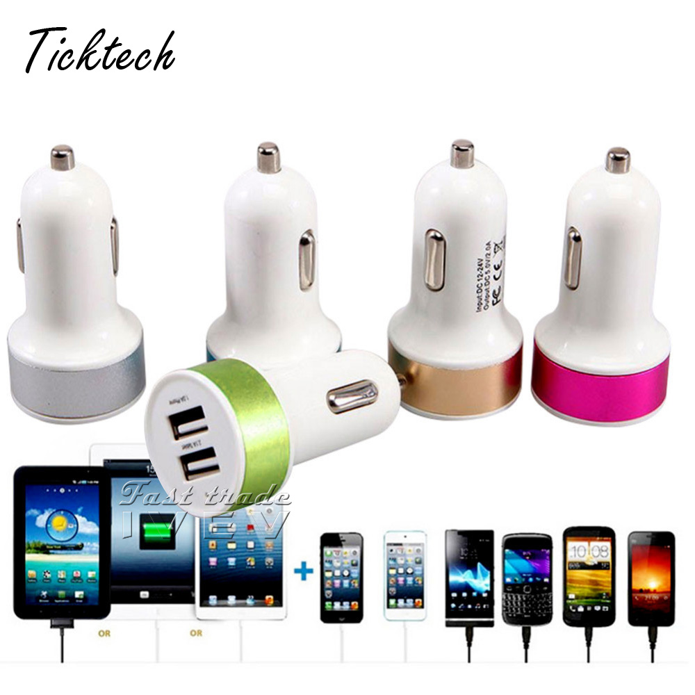100PCS/Lot DC 12V 24A Dual 2 port USB car Charger 5V 2.1A metal round head battery for iphone Samsung for xiaomi Free Shipping