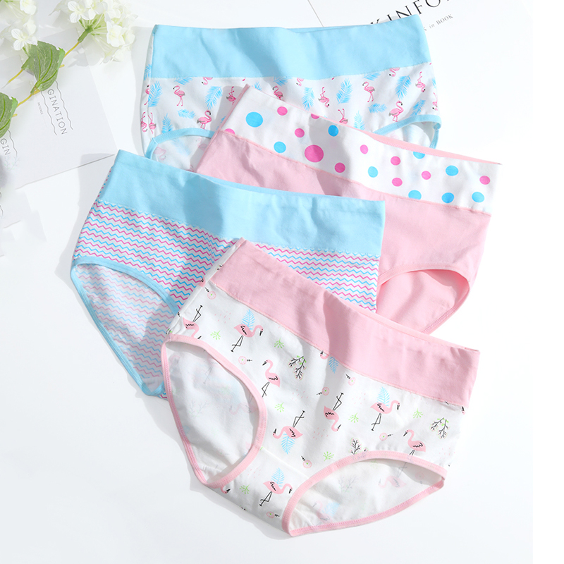LANGSHA 5Pcs/lot Women   Panties   Cotton High Waist Underwear Printed Seamless Briefs Soft Breathable Female Slimming   Panty   XXL