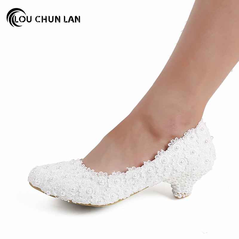 Aesthetic White dwarf with Lace Flower Wedding Shoes Pearl Shoes Bridal Shoes banquet formal dress Shoes 5CM large size 41 47