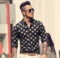 Mens Vestido de Camisa Social Polka Dot Floral 2016 Novo Slim Fit Camisa de Manga Longa Marca Casual Roupa do Negócio Camisas Hombre
