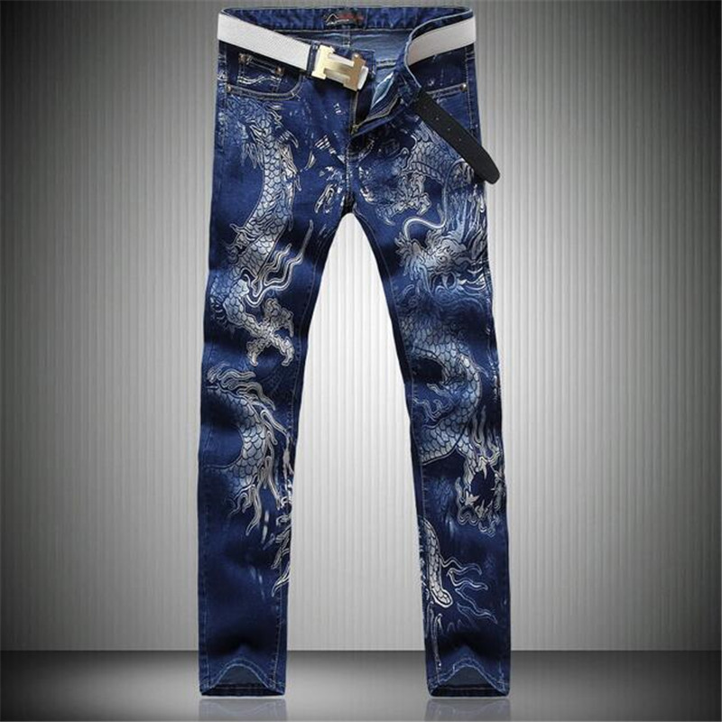 2016 Men Jeans New Chinese Style Personality Fashion Animal Dragon Pattern Printed Denim Casual