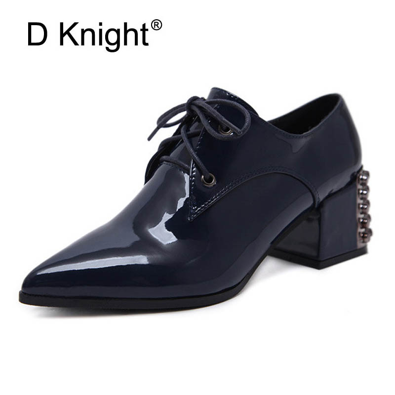 Patent Leather Women Oxfords British Spring Platform Pumps Rivet Casual Lace-Up Ladies Brogue Shoes Woman Pointed Toe High Heels qmn women snake effect leather brogue shoes women round toe platform oxfords shoes woman genuine leather casual platform flats