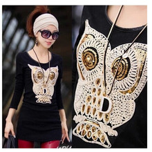 Shidao Paillette Large owl Fabric Applique DIY Embroidery Sequin Patches for clothing Sew on