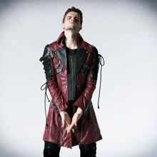Панк рейв Готический искусственная кожа рок шипованных хлопковая куртка пальто Streampunk HoodieLot S-3XL Y349
