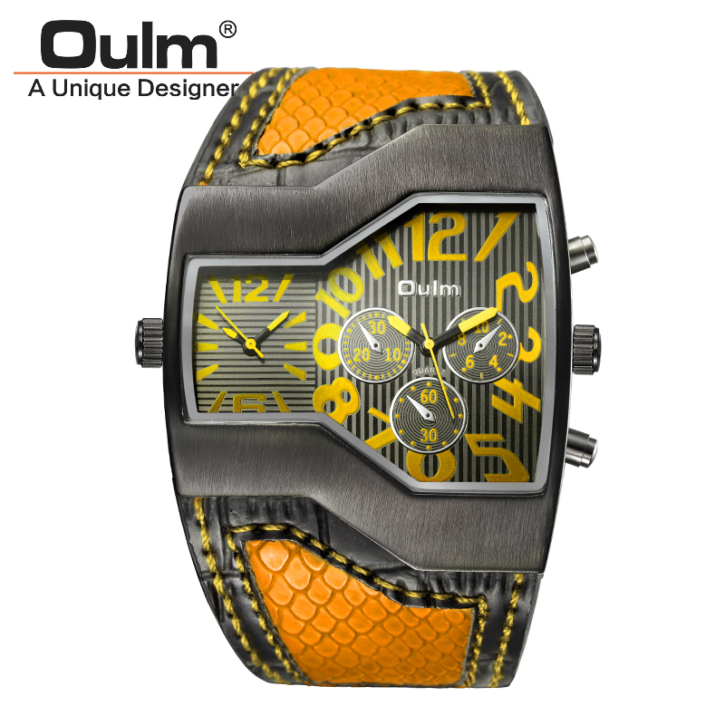 Luxury Brand Watches for Men Oulm Brand Two Tme Zone Male Sport Style Quartz Wristwatch HP1220