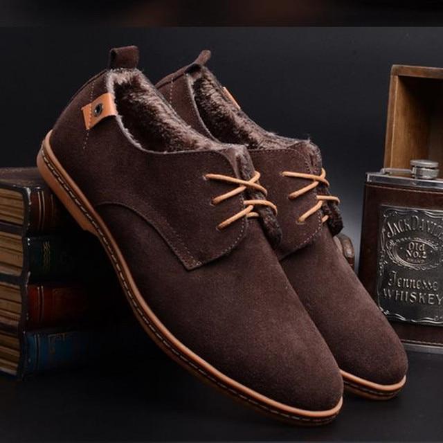 Мода Мужская Обувь зимняя теплые мужчины сапоги мужской зашнуровать casual обувь осень популярные классические лодыжки меховые сапоги европейский стиль SD01