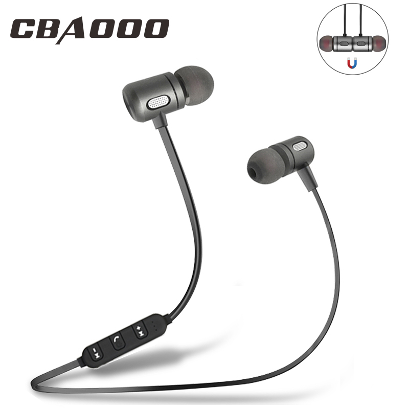 CBAOOO Bluetooth Earphone Wireless Headsets Music Sports Bass Stereo Bluetooth Earpiece Magnetic Headphone With Mic For Phone