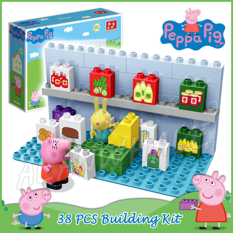 38pcs Peppa Mummy Pig Town Supermarket Go Shopping Model Building Action Figures Assemble Anime Toys Compatible With lego Duplo