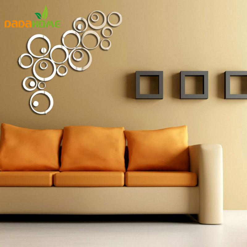 Acrylic Circle Mirror Decorative Wall Sticker Interior Pegatinas De Pared Wall Decor Bedroom