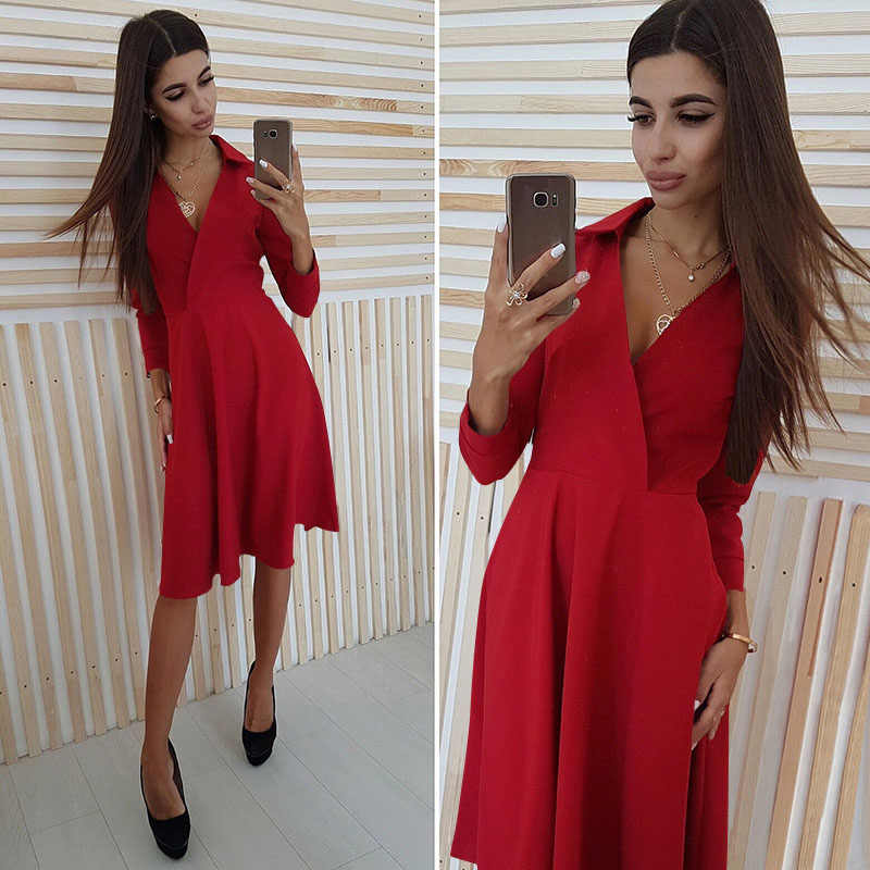 Vrouwen Herfst Winter Comfortabele Jurk Sexy V-hals Effen Kleur Lange Mouwen Office Lady Jurk Revers Stijl Slim Fit Party Dress