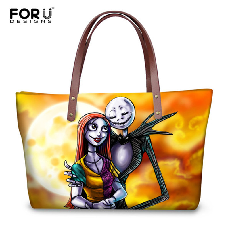 FORUDESIGNS Vintage Jack Skellington Women Shoulder Bags Luxury Designer Ladies Shopping Handbags Large Capacity Beach Tote Sac forudesigns casual women handbags peacock feather printed shopping bag large capacity ladies handbags vintage bolsa feminina page 7