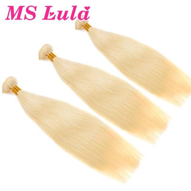 FREESHIPPING 3pcs lot Silky Straight blonde brazilian hair honey blond 613 ms lula hair products
