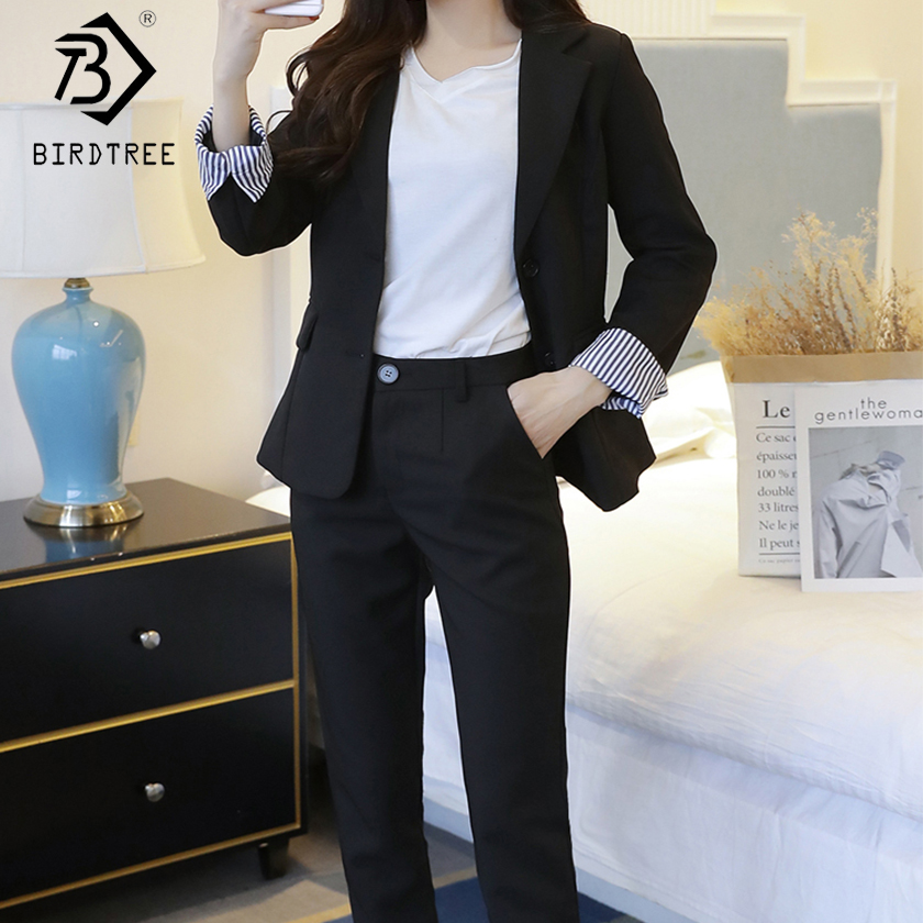 2019 Spring New Women s Long Sleeve Blazer Suits Single Breasted Tops Button Fly Pants Formal