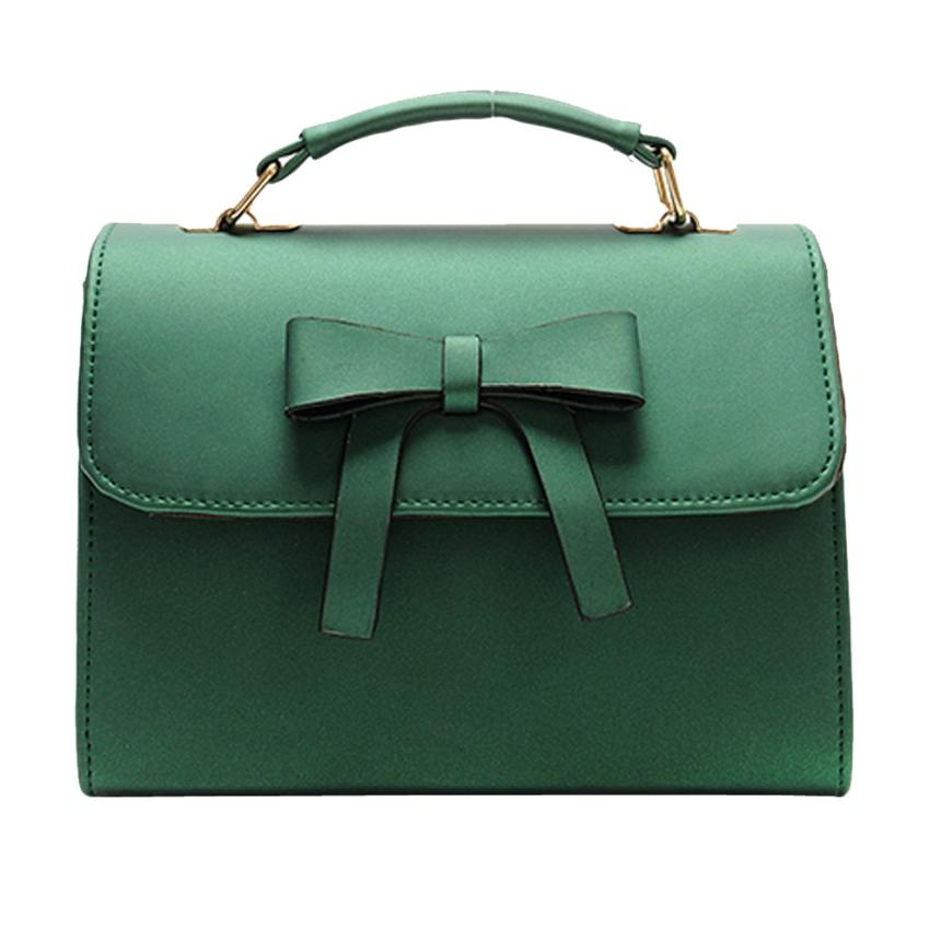 Последняя женская мода Искусственная кожа лук сумка дамы сплошной цвет типа крышка сумки небольшой площади посылка # F