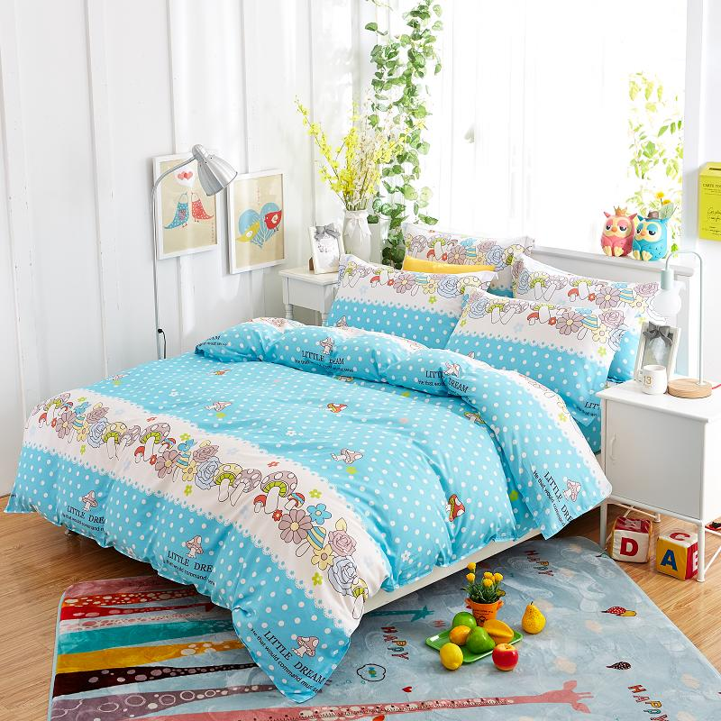 Free shipping 2017 Pure cotton bedding set fashionable mushroom bed sheet/quilt cover queen 4 pcs