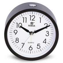 4 inch Round Silent Analog Alarm Clock Non Ticking Gentle Wake Beep Sounds Increasing Volume Battery